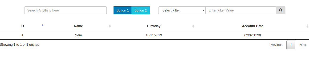 Simple DataTable Customization-SearchBox|Button|Select|Filter
